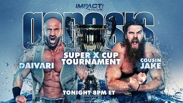 Match graphic for Daivari vs. Cousin Jake at impact Genesis