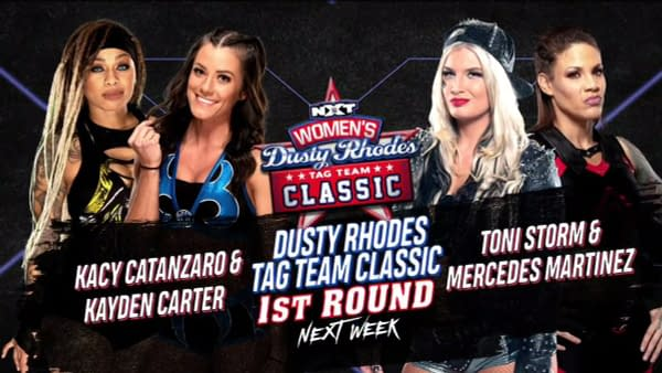Kacy Catanzato and Kayden Carter will face Toni Storm and Mercedes Martinez in the first round of the Women's Dusty Rhodes Tag Team Classic