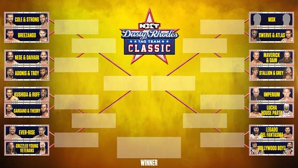 WWE revealed the brackets for the Dusty Rhodes Classic tag team tournament kicking off on NXT tonight