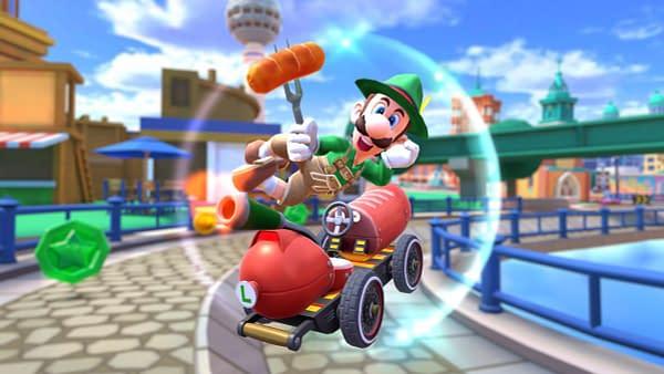 Luigi clad in lederhosen with a sausage, but it's Nintendo, so no beer. Courtesy of Nintendo.