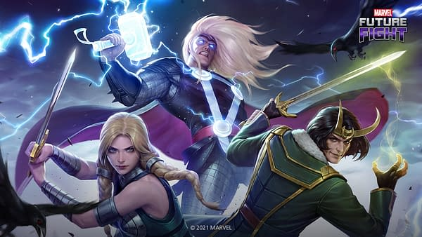 Valkyrie, Thor, and Loki all in some new garb from the latest update to Marvel Future Fight. Courtesy of Netmarble.