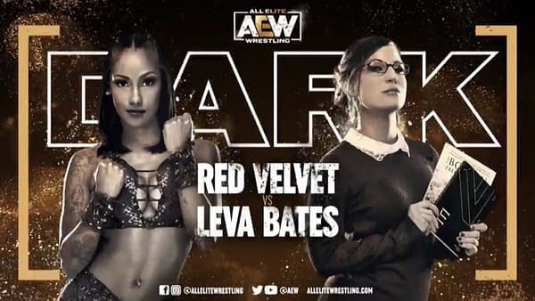 Red Velvet vs. Leva Bates match graphic for next week's Dark, airing Tuesday at 7PM Eastern on YouTube