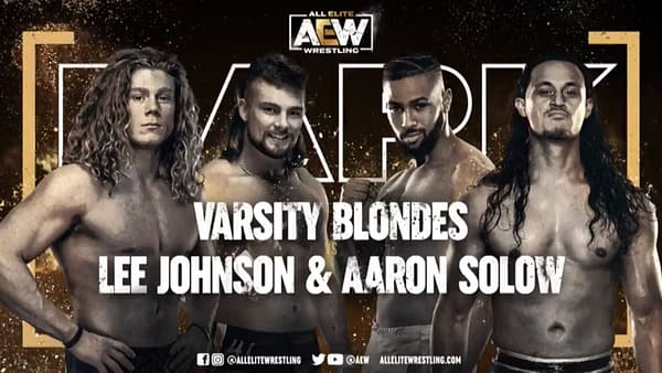 Varsity Blondes vs. Lee Johnson and Aaron Solow match graphic for next week's AEW Dark, airing Tuesday at 7PM Eastern on YouTube