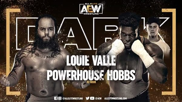 Louie Valle vs. Powerhouse Hobbs match graphic for next week's Dark, airing Tuesday at 7PM Eastern on YouTube