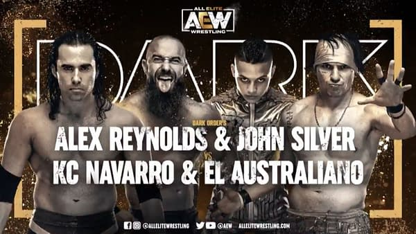 Alex Reynolds and John Silver vs. KC Navarro and El Australiano match graphic for next week's Dark, airing Tuesday at 7PM Eastern on YouTube