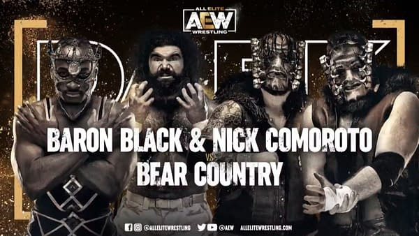 Baron Black and Nick Comoroto vs. Bear Country match graphic for next week's Dark, airing Tuesday at 7PM Eastern on YouTube