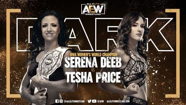 Serena Deeb vs. Tesha Price match graphic for next week's AEW Dark, airing Tuesday at 7PM Eastern on YouTube