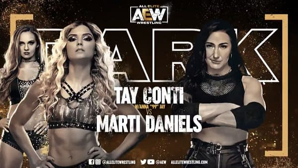 Tay Conti vs. Marti Daniels match graphic for next week's Dark, airing Tuesday at 7PM Eastern on YouTube