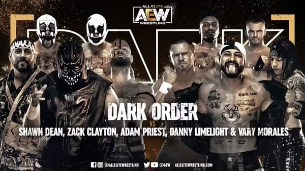 Dark Order vs. Shawn Dean, Zack Clayton, Adam Priest, Danny Limelight, and Vary Morales match graphic for next week's AEW Dark, airing Tuesday at 7PM Eastern on YouTube