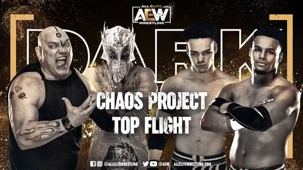 Chaos Project vs. Top Flight match graphic for next week's Dark, airing Tuesday at 7PM Eastern on YouTube