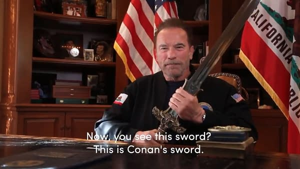 Arnold Schwarzenegger picks up the sword of Conan the Barbarian to defend America