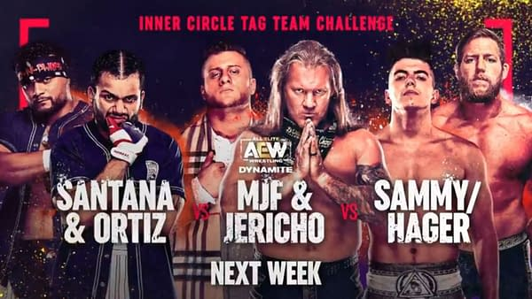 In an Inner Circle battle to determine who will go for the AEW Tag Team Championships, Santana and Ortiz will take on Chris Jericho and MJF and also the new team of Sammy/Hager