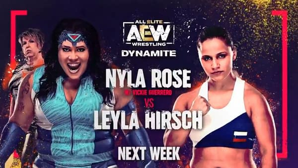 Match graphic for Nyla Rose vs. Leyla Hirsch, originally set for the January 20th episode of AEW Dynamite, but now postponed or canceled due to a need for Rose to self-quarantine.