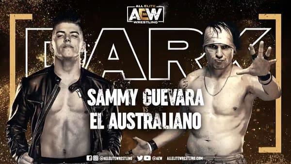 Match graphic for Sammy Guevara vs. El Australiano, happening next week on Dark