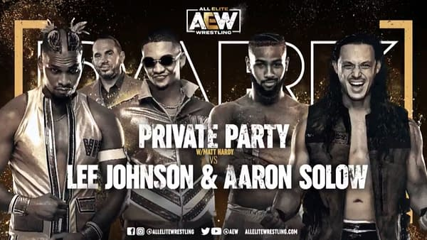 Match graphic for Private Party vs. Lee Johnson and Aaron Solow, happening next week on AEW Dark