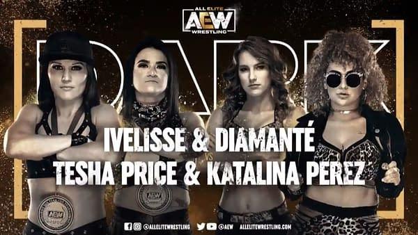 Match graphic for Ivelisse and Diamante vs. Tesha Price and Katalina Perez, happening next week on Dark