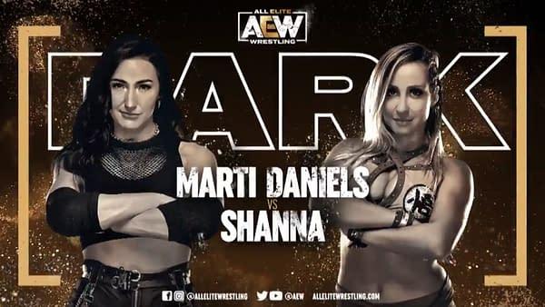 Match graphic for Marti Daniels vs. Shanna, happening next week on Dark