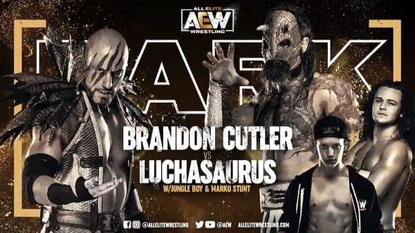Match graphic for Brandon Cutler vs Luchasaurus, happening next week on AEW Dark