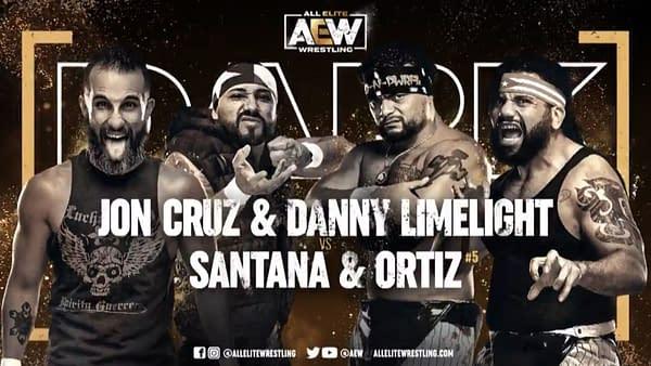 Match graphic for Jon Cruz and Danny Limelight vs. Santana and Ortiz, happening next week on Dark