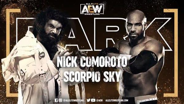Match graphic for Nick Comoroto and Scorpio Sky, happening next week on AEW Dark