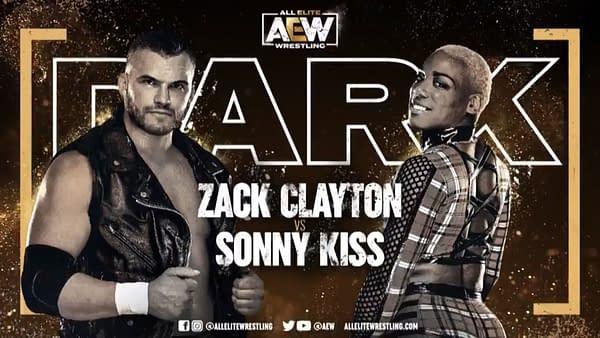 Match graphic for Zack Clayton vs. Sonny Kiss, happening next week on Dark