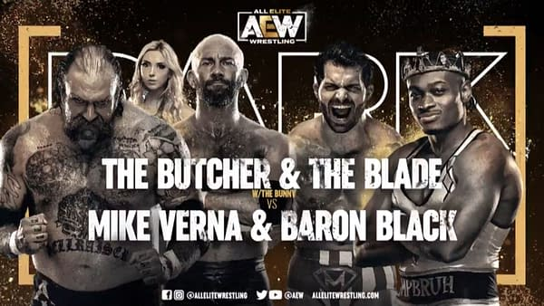 Match Graphic for The Butcher and the Blade vs. Mike Verna and Baron Black, happening next week on AEW Dark