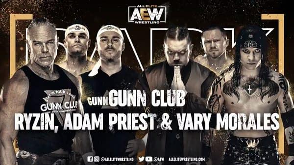 Match graphic for Gunn Club vs. Ryzin, Adam Priest, and Vary Morales, happening next week on AEW Dark