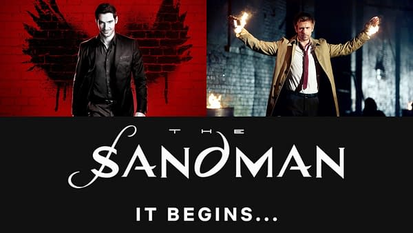 The Sandman creator Neil Gaiman clears up some Lucifer and Constantine chatter. (Images: Netflix/The CW/Netflix)