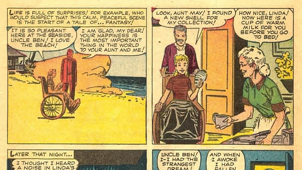 Strange Tales #97 interior story by Steve Ditko and Stan Lee, featuring Aunt May and Uncle Ben,Marvel 1962.