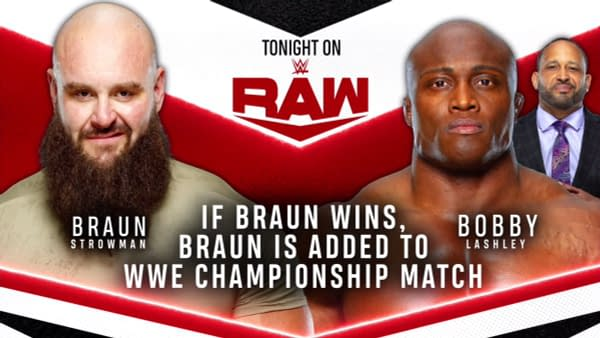Match graphic for Braun Strowman vs. Bobby Lashley on WWE Raw.