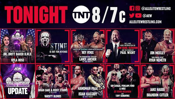 The lineup for AEW Dynamite tonight on TNT at 8PM Eastern.