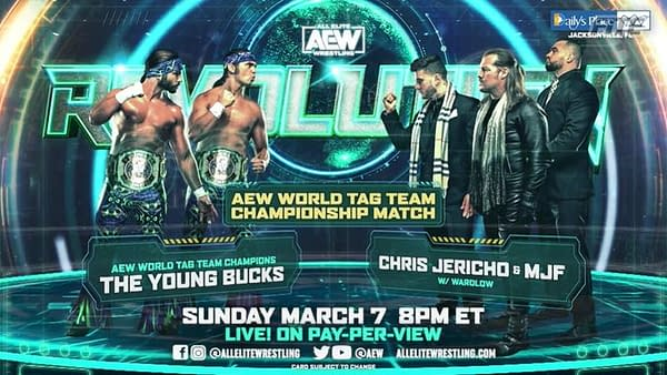 The Young Bucks will defend the AEW Tag Team Championships against Chris Jericho and MJF at Revolution.