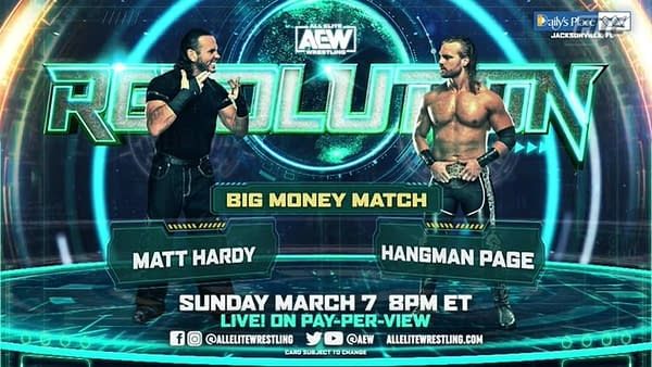 Matt Hardy takes on Hangman Page in a Big Money Match, with the winner taking the loser's earnings, at Revolution.