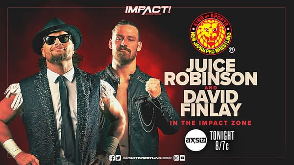 NJPW stars Juice Robinson and David Finlay will appear on tonight's episode of Impact Wrestling.