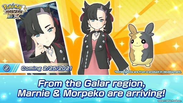Marnie & Morpeko in Pokémon Masters EX. Credit: DeNA