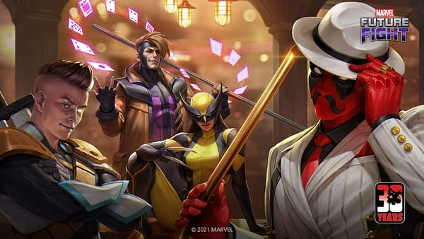 yes, you can now throw Deadpool into a white suit. Courtesy of Netmarble.