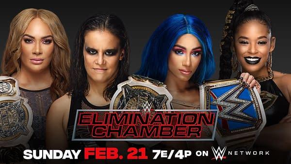 Elimination Chamber match graphic for Nia Jax and Shayna Baszler vs Sasha Banks and Bianca Belair.