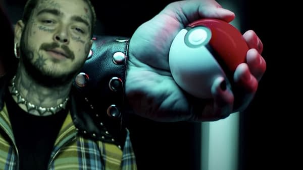 Post Malone grips a Pokéball with intensity. Credit: TPCI