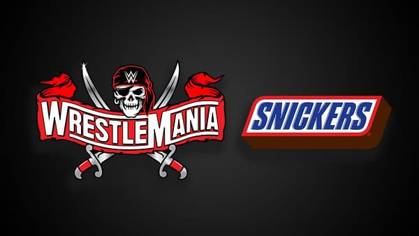 The logos for Snickers and WrestleMania together on a black background, showing off WWE's incredible graphic design department.