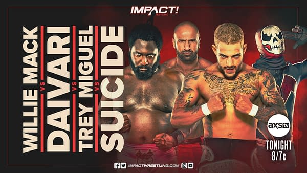 Willie Mack, Daivari, Trey Miguel, and Suicide will face off in a fatal four-way match on tonight's Impact Wrestling