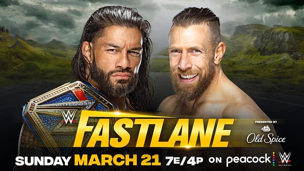 Match graphic for Roman Reigns vs. Daniel Bryan for the Universal Championship at WWE Fastlane