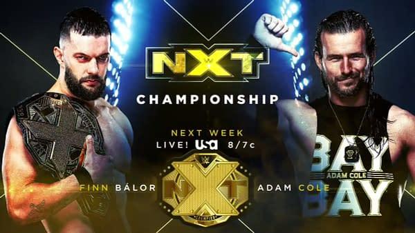 NXT Breaking News: Adam Cole vs Finn Balor For The NXT Title Next Week