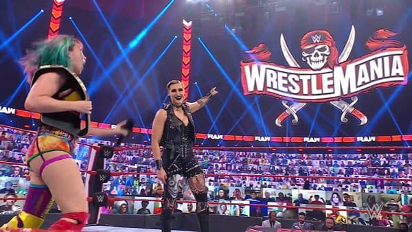 Rhea Ripley debuts on WWE Raw to challenge Asuka to a championship match at WrestleMania