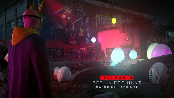Because who hasn't wanted to go hunt for eggs at a rave? Courtesy of IO Interactive.
