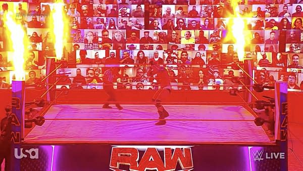 Eat your heart out, Tony Khan! WWE Raw ends with a pyro display to taunt rival AEW over their botched PPV main event