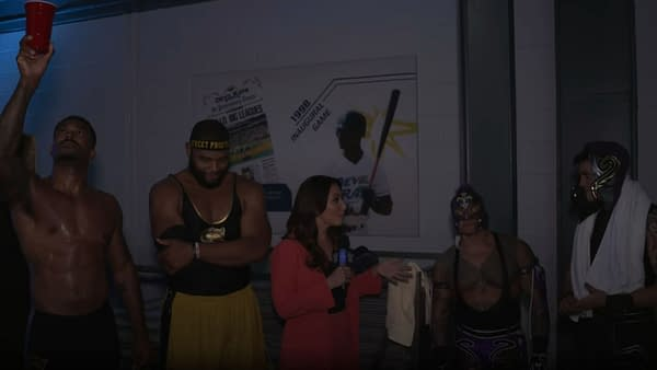 The Street Profits and the Mysterios celebrate their victory over Alpha Academy and the Dirty Dogs on WWE Smackdown