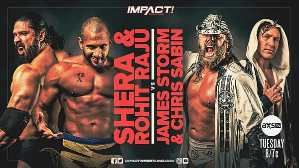 Spinning out of the drama in Swinger's Palace, Shera and Rohit Raju take on James Storm and Chris Sabin on Impact tonight.