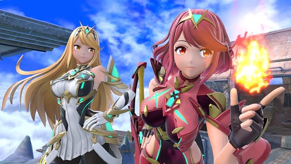 Pyra/Mythra have now joined the fight from Xenoblade Chronicles 2. Courtesy of Nintendo.