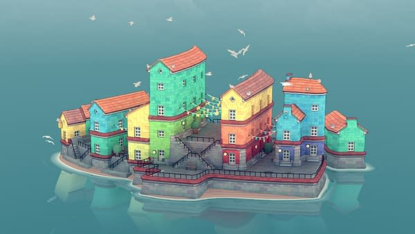 Design an island town however you wish without any pressure. Courtesy of Raw Fury.