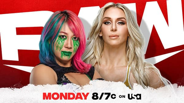 Match graphic for Asuka vs. Charlotte Flair on WWE Raw next week.